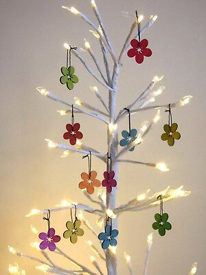 Pk 24 Wooden Rainbow Hanging Flower Birthday Christmas Tree Easter Nursery Craft