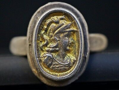 Ancient Roman Gold Gilded Ring depicting Bust of Emperor, circa 250-350 AD.