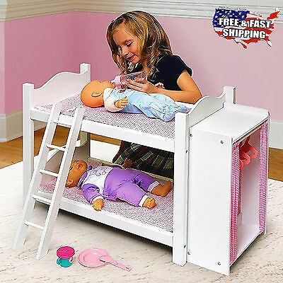 American Girl Doll Bunk Beds with Ladder and Storage Armoire Accessory Play Toy