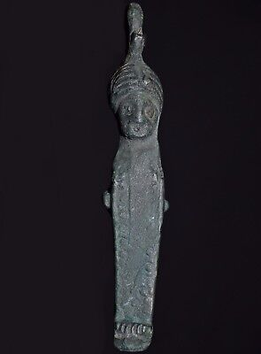 Ancient Roman Bronze Pendant. Bust of Roman Goddess, circa 250-350 AD.