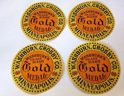 Lot of 4 Antique Washburn Crosby Co Gold Medal Flour Labels-Unused-1880's-NOS