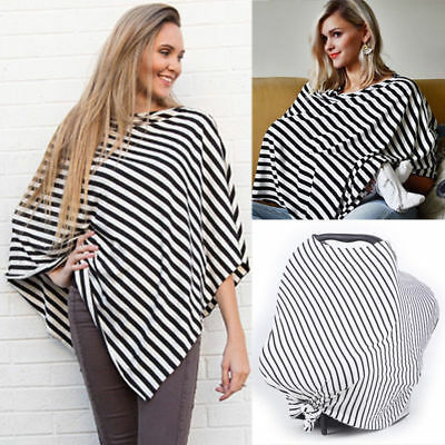 Mum Breastfeeding Nursing Poncho Cover Up Baby Seat Stroller Cover Cotton Shawl