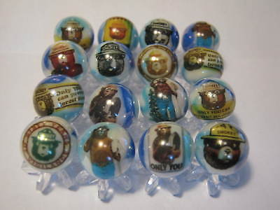 "SMOKEY THE BEAR 5/8"" GLASS MARBLES COLLECTION with stands"