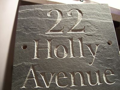 """High Quality Slate House sign Door Gate plaque 6"""" x 5""""  ANY NAME / NUMBER!!"""