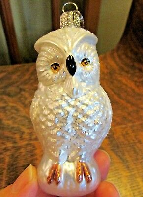 Old World Christmas Blown Glass White Snowy Owl Christmas Ornament