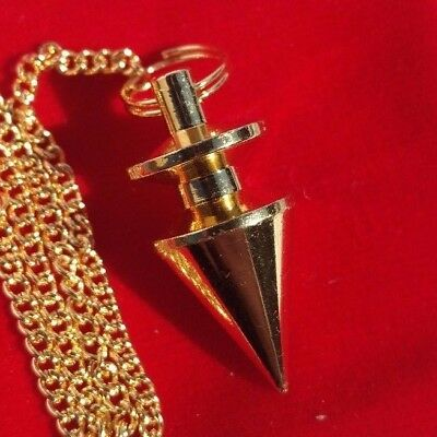 Metal Cone Pendulum in velvet pouch with dowsing charts