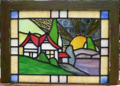 Arts and crafts cottage leaded stained glass window