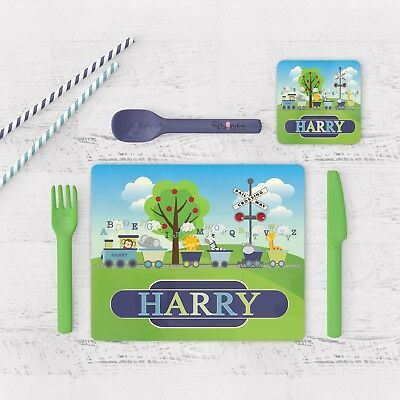 Personalised Train Placemat & Coaster Set Glossy,wood Placemat & Coaster Set