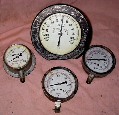 Vintage 4 Steam, Pressure, Valve, Instrument Gauges, Steampunk Steam Punk Lot B