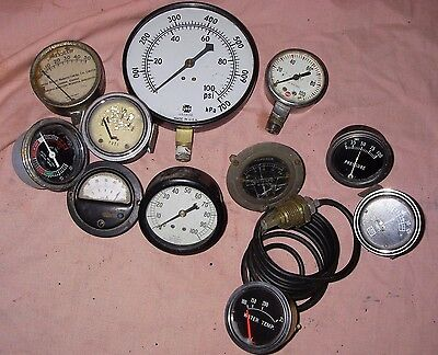 Vintage 11 Steam, Pressure, Stewart Warner SW Gauges, Steampunk Steam Punk Lot C