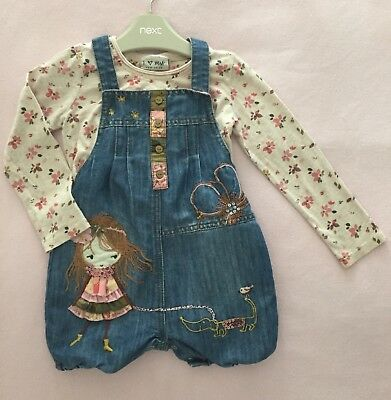 NEXT Baby Girls 18-24 Months Playsuit Set Winter Denim Dungarees & Top Applique