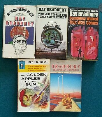 Ray Bradbury Classic Sci Fi Lot of 5 Vintage PB