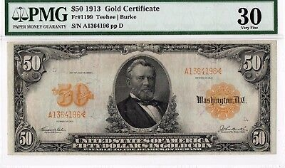 $50 1913 Gold Certificate FR#1199. PMG-30