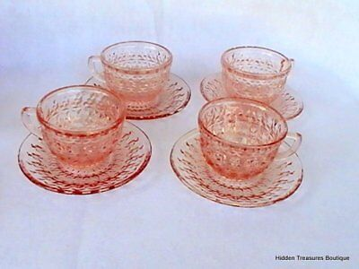Jeannette Holiday Pink Depression 4 Cups & Saucers Buttons & Bows