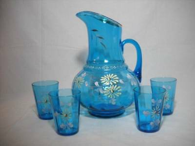 Antique Blue Hand Painted Enamel Daisy Pattern Pitcher & 4 Tumblers