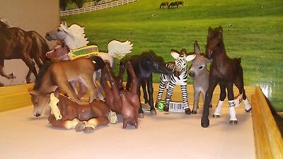 Lot of Schleich, Papo & Safari Ltd Foals, Zebra & Donkey & Horse, Many NWT! Cute