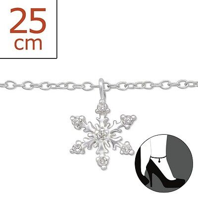 Sterling Silver Snowflake Anklet