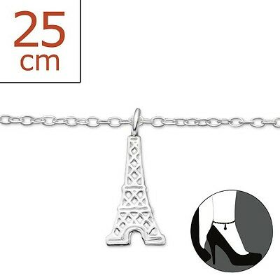 Sterling Silver Eiffel Tower Anklet
