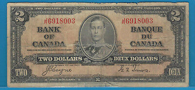 1937 2$ Bank Note Of Canada Coyne/Towers  J/R6918003  Circ BC-22c