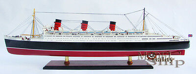 "RMS Queen Mary Ocean Liner Wooden Model 40"" Cruise Ship Fully Assembled Boat New"
