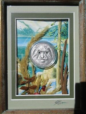 "2014 Mongolia 500 Togrog ""manul / Cat"" Wildlife Protection .999 Silver Coin"