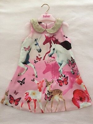 TED BAKER Girls Unicorn Dress 18-24 Months 1.5-2 Years Xmas Party