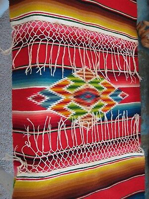 VTG Red WOOL SERAPE Southwestern SALTILLO RUNNER Mexico Mexican THROW Folk Art