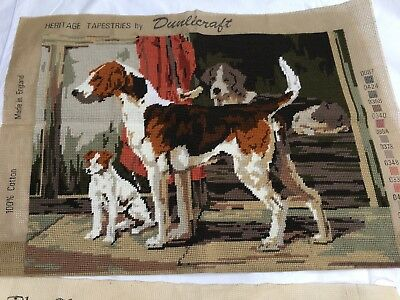 Vintage Completed Tapestry Wool work Of Fox Hounds Hunt Hounds .  Hunting Dogs