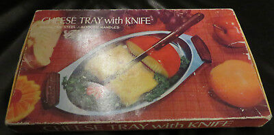 Vintage Retro 1960's Stainless Steel Cheese Tray With Knife Boxed