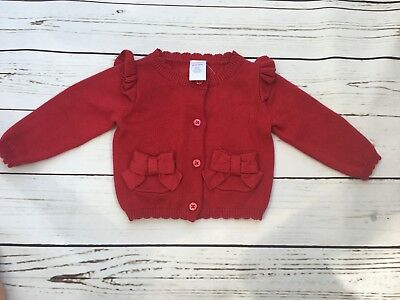 NWT GYMBOREE Baby Girls Red Bow Pocket Cardigan Sweater Scallop 6-12 months