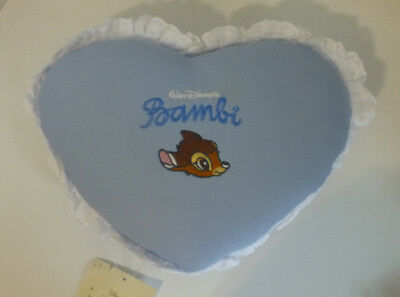 Japan Disney Bambi Name Embroidered Lace Trimmed Small Heart Pillow