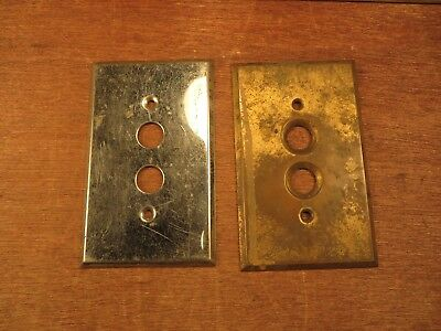 2 Old Single Push Button Switch Cover Plates Vintage 1 Solid Brass & 1 Chrome