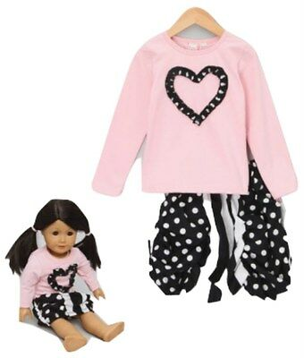 GIRLS SKIRT AND TOP SET 6YRS with matching DOLLS OUTFIT - New