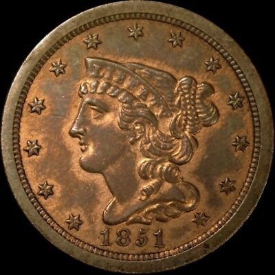 1851 Braided Hair Half Cent Uncirculated Red-Brown