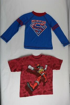 LOT OF 2 Boys Power Rangers And Superman Graphic Shirts Red/Blue 4T