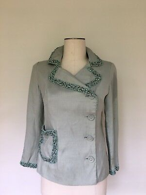 Vintage Womens Silk Jacket 1950s with beading