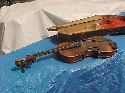 Antique violin & coffin case repaired by Clarence F. Stalcup / Parts or Repair