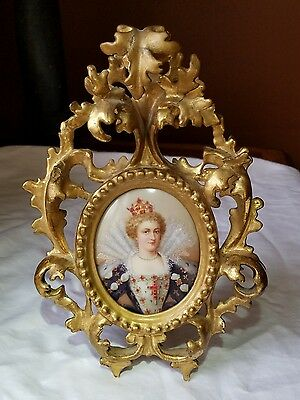 Antique Mary Stuart Queen of Scots Painted on Porcelain Museum Quality