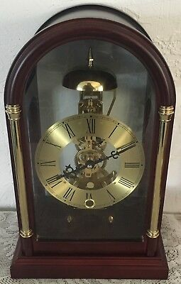 Skeleton Table Clock 15 Day Mechanical Movement Key Wind Brass Plated Dial New