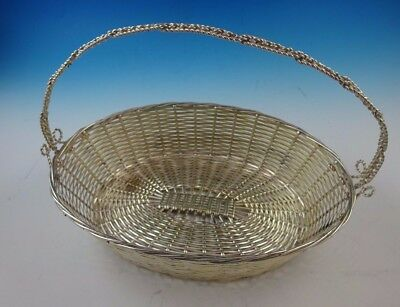 Silverplate French Basket with Handle and Basket Weave Design.