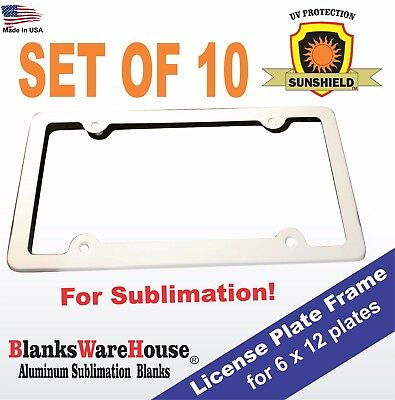 LICENSE PLATE FRAMES -  For Sublimation printing  - ALL ALUMINUM - 10 piece lot