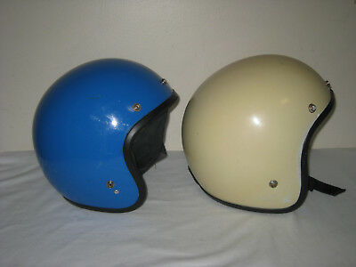 Vintage Motorcycle Helmet Lot one white and one blue size L