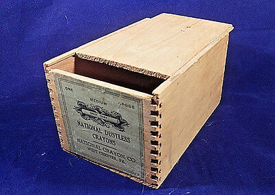 Vintage National Crayon Co Dustless Crayons Dovetailed Wooden Box