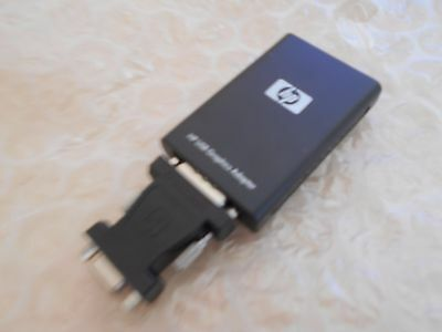 HP 584670-001 USB 2.0 Graphics Adapter w/ Black DVI-I to VGA Adapter <GC4>