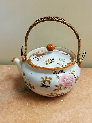 "Ceramic Hand-painted Japan Floral Teapot with Bamboo Handle 2"" tall, 4"" wide"