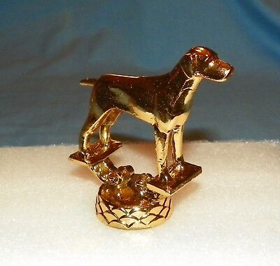 6 Vintage Metal Pointer Dog Trophy Toppers New Old Stock