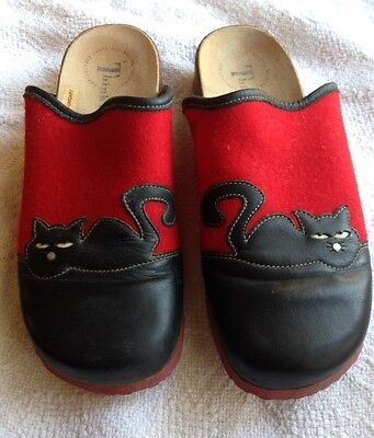 Women's Think! Clogs Mules Red Wool with black leather cats Euro size 40 Used