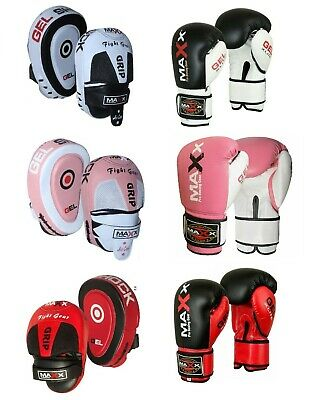 Maxx Boxing Gloves and Focus Pads Set Hook Jabs Mitts Punch Bag Gym Training MMA