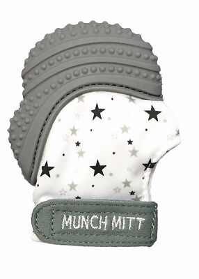 Munch Mitt Pastels Specialty Collection - Silicone Teether Mitten Grey Stars