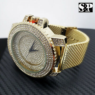 Men's Gold Plated Luxury Full Iced Stainless Steel Mesh Band Hip Hop Watch